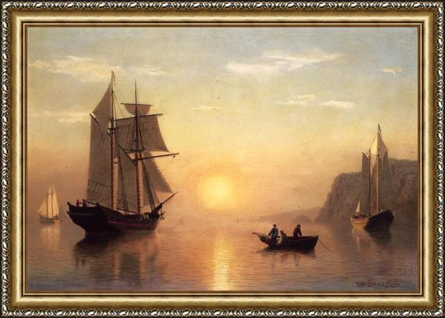 Framed William Bradford sunset calm in the bay of fundy painting