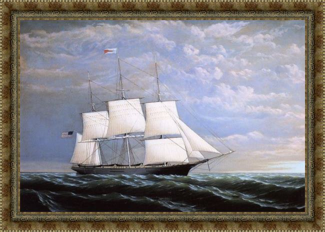 Framed William Bradford whaleship 'syren queen' of fairhaven painting