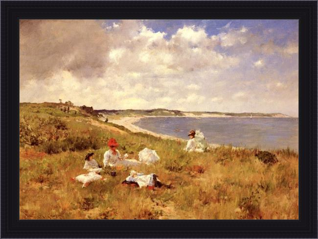Framed William Merritt Chase idle hours painting