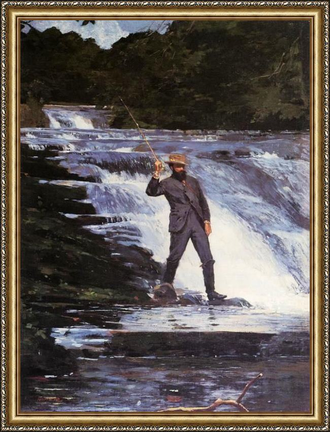 Framed Winslow Homer winslow the angler painting
