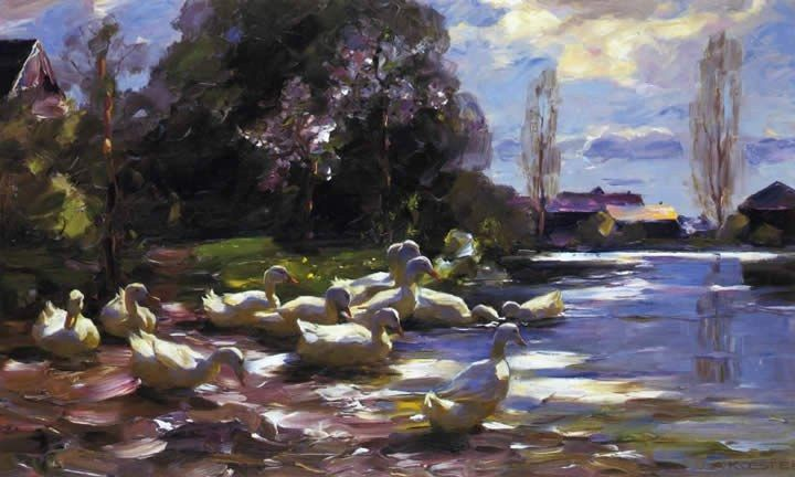 Alexander Koester Ducks on a Riverbank on a Sunny Afternoon