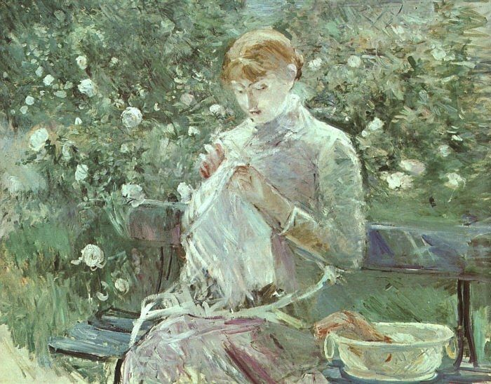 Berthe Morisot Young Woman Sewing in a Garden