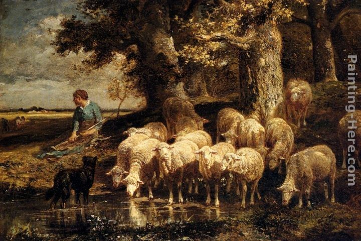 Charles Emile Jacque A Shepherdess With Her Flock