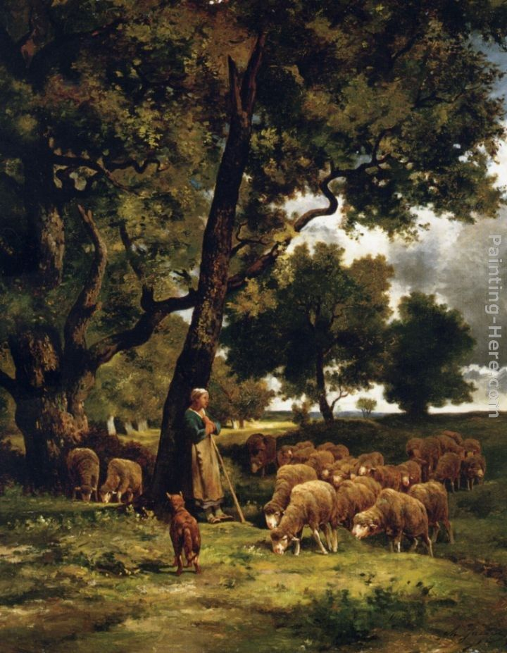 Charles Emile Jacque The shepherdess and her flock