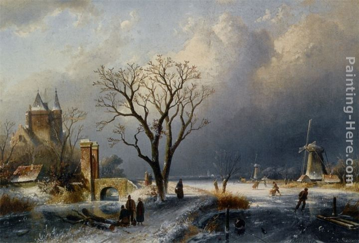 Charles Henri Joseph Leickert A Winter Landscape with Figures near a Castle