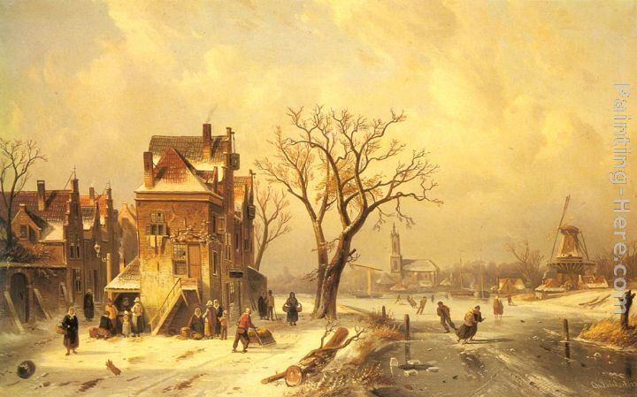 Charles Henri Joseph Leickert Skaters in a Frozen Winter Landscape