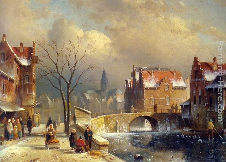 Charles Henri Joseph Leickert Winter Villagers on a Snowy Street by a Canal