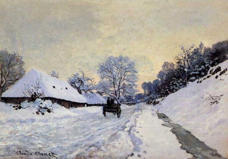 Claude Monet A Cart On The Snow Covered Road With Saint Simeon Farm
