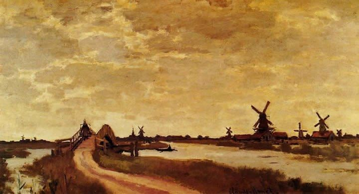 Claude Monet Windmills at Haaldersbroek Zaandam