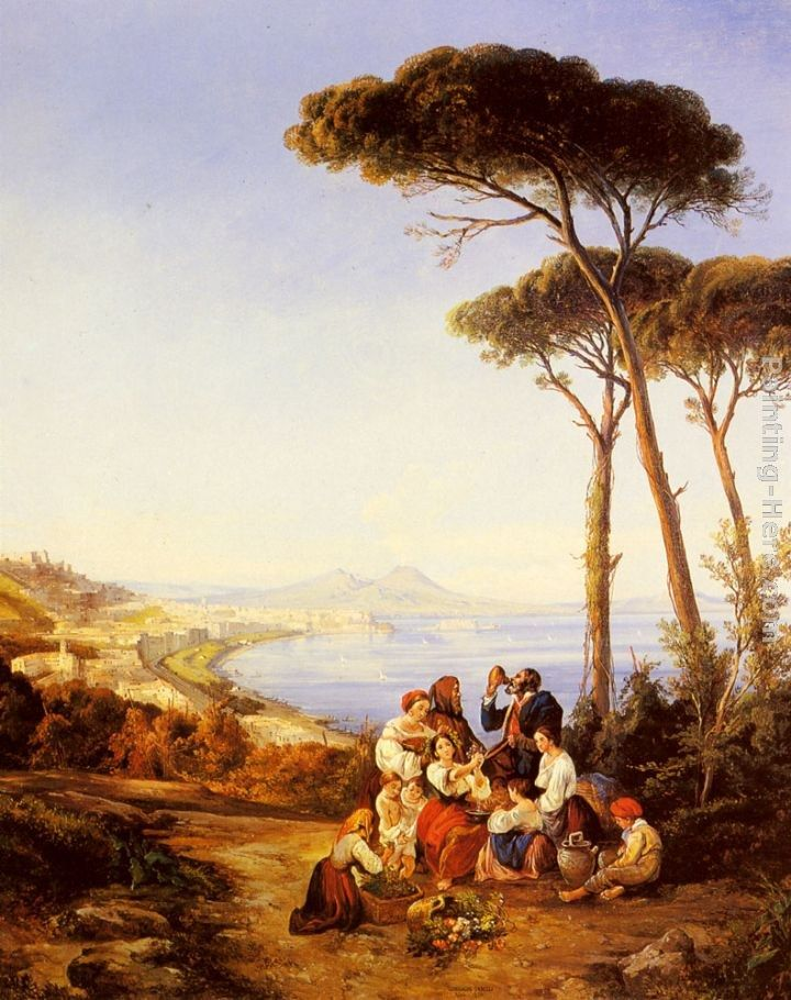 Consalvo Carelli A Group Of Peasants With The Bay Of Naples Beyond