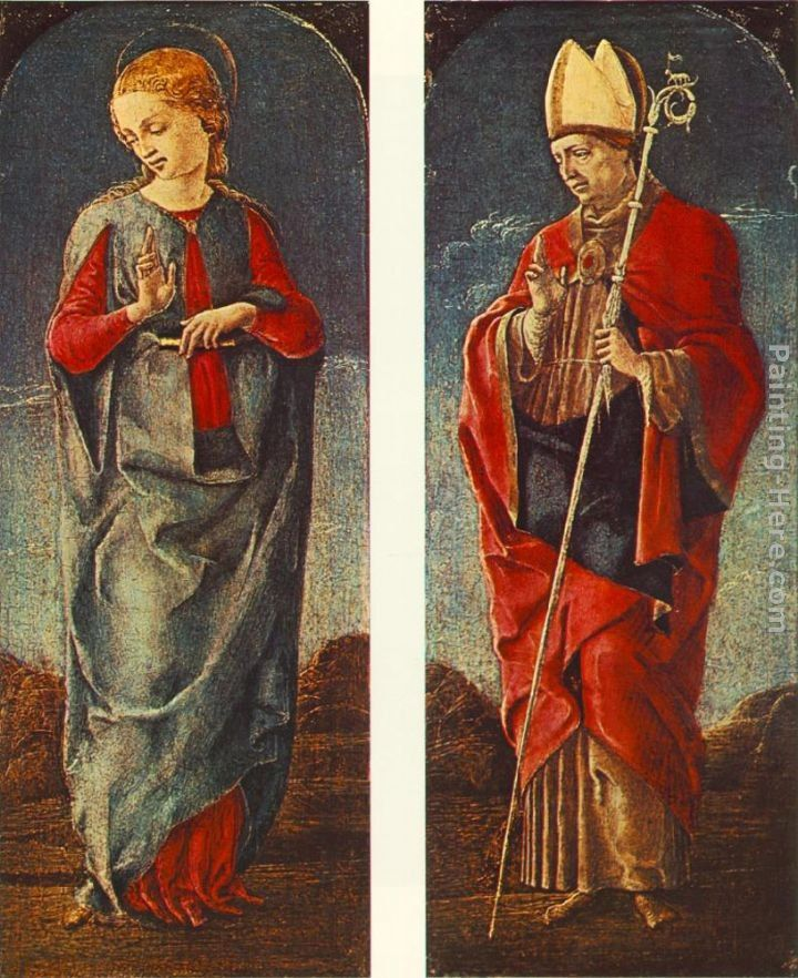 Cosme Tura Virgin Announced and St Maurelio (panels of a polyptych)