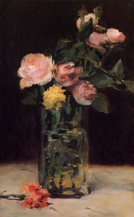 Edouard Manet Roses in a Glass Vase