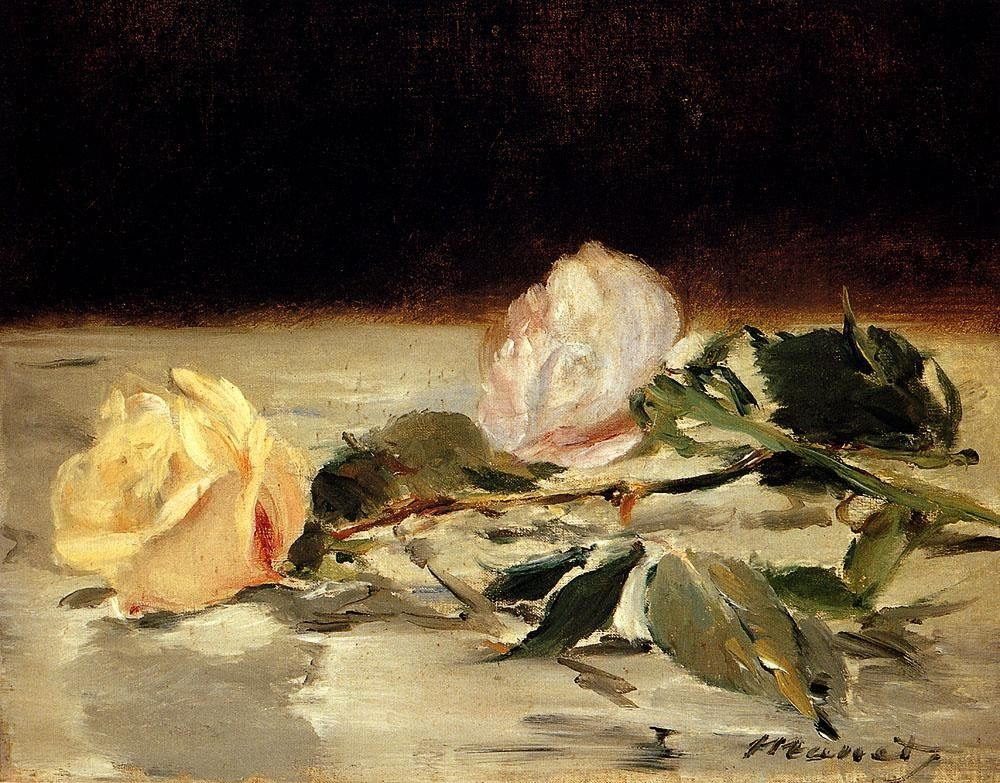 Edouard Manet Two Roses On A Tablecloth