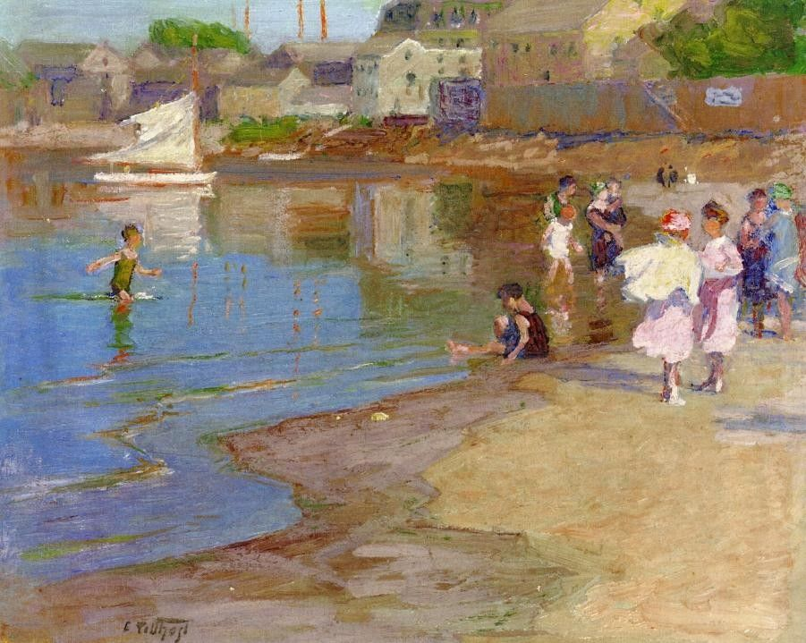 Edward Henry Potthast Children Playing at the Beach