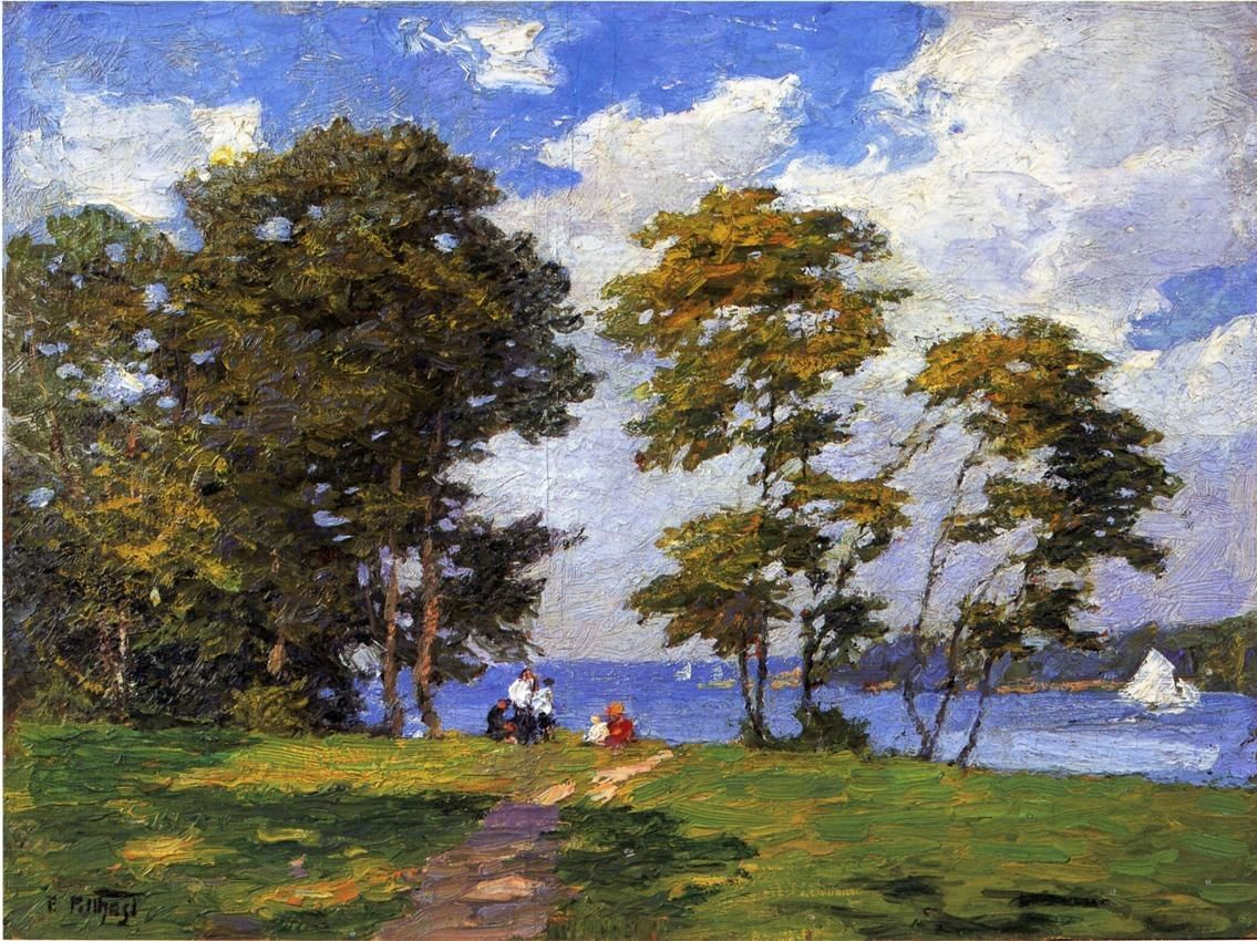 Edward Henry Potthast Landscape by the Shore