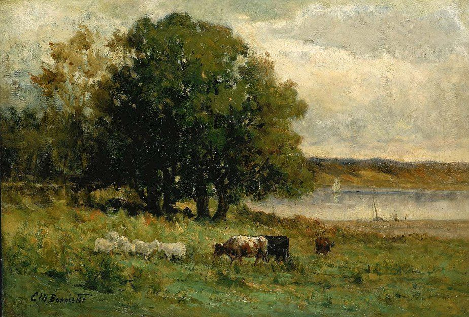 Edward Mitchell Bannister cattle near river with sailboat in distance