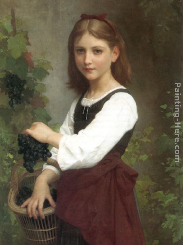 Elizabeth Jane Gardner Bouguereau Young Girl Holding a Basket of Grapes