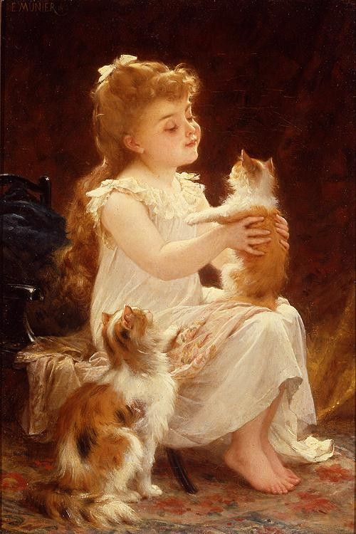 Emile Munier Playing with the Kitten