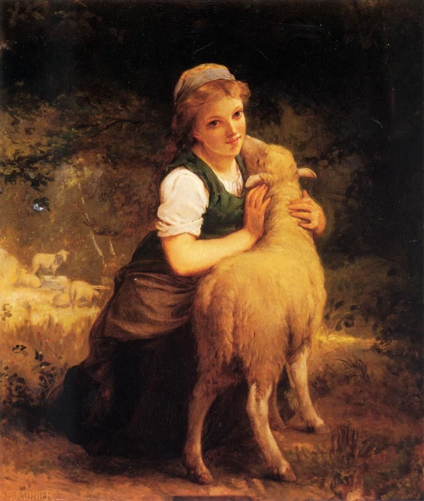Emile Munier Young Girl with Lamb