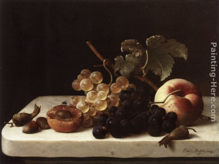 Emilie Preyer Grapes Acorns and Apricots on a Marble Ledge