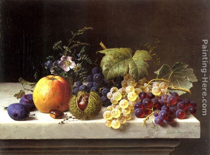 Emilie Preyer Grapes Plums Etc. On A Marble Ledge