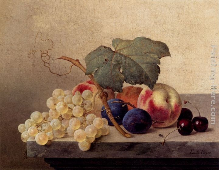 Emilie Preyer Still Life With Grapes, Peaches, Plums And Cherries