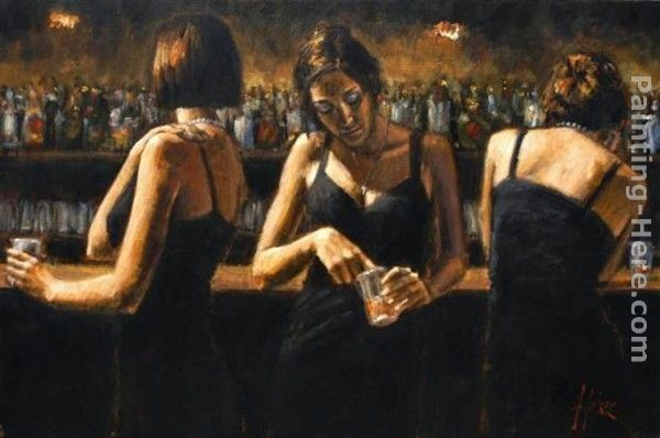 Fabian Perez Study for Three Girls at the Bar