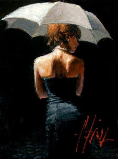 Fabian Perez Woman with White Umbrella