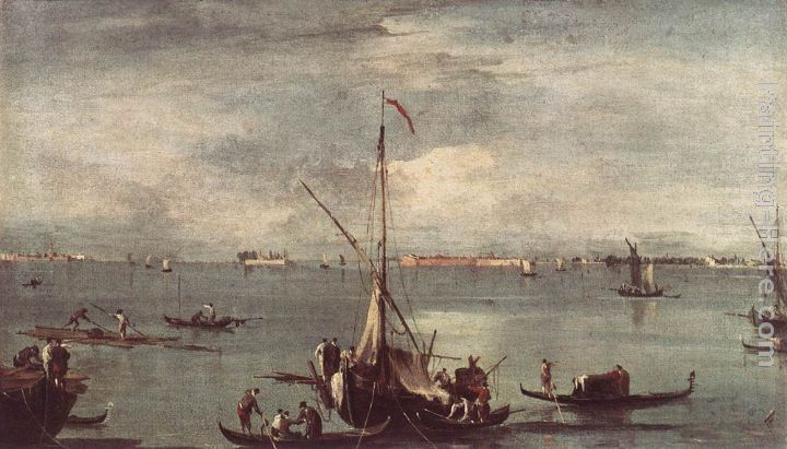 Francesco Guardi The Lagoon with Boats, Gondolas, and Rafts