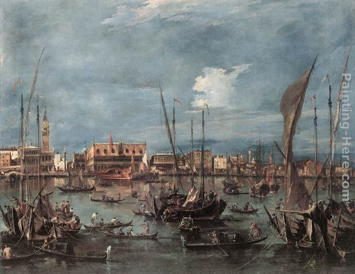 Francesco Guardi The Molo and the Riva degli Schiavoni from the Bacino di San Marco