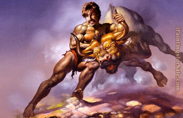 Frank Frazetta taking the bull by the horns