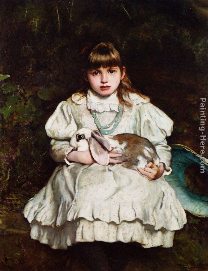 Frank Holl Portrait of a Young Girl Holding a Pet Rabbit