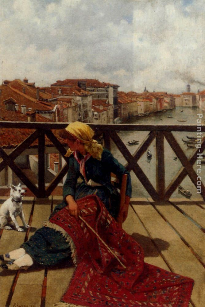 Franz Leo Ruben A Distraction On The Accademia Bridge, Venice