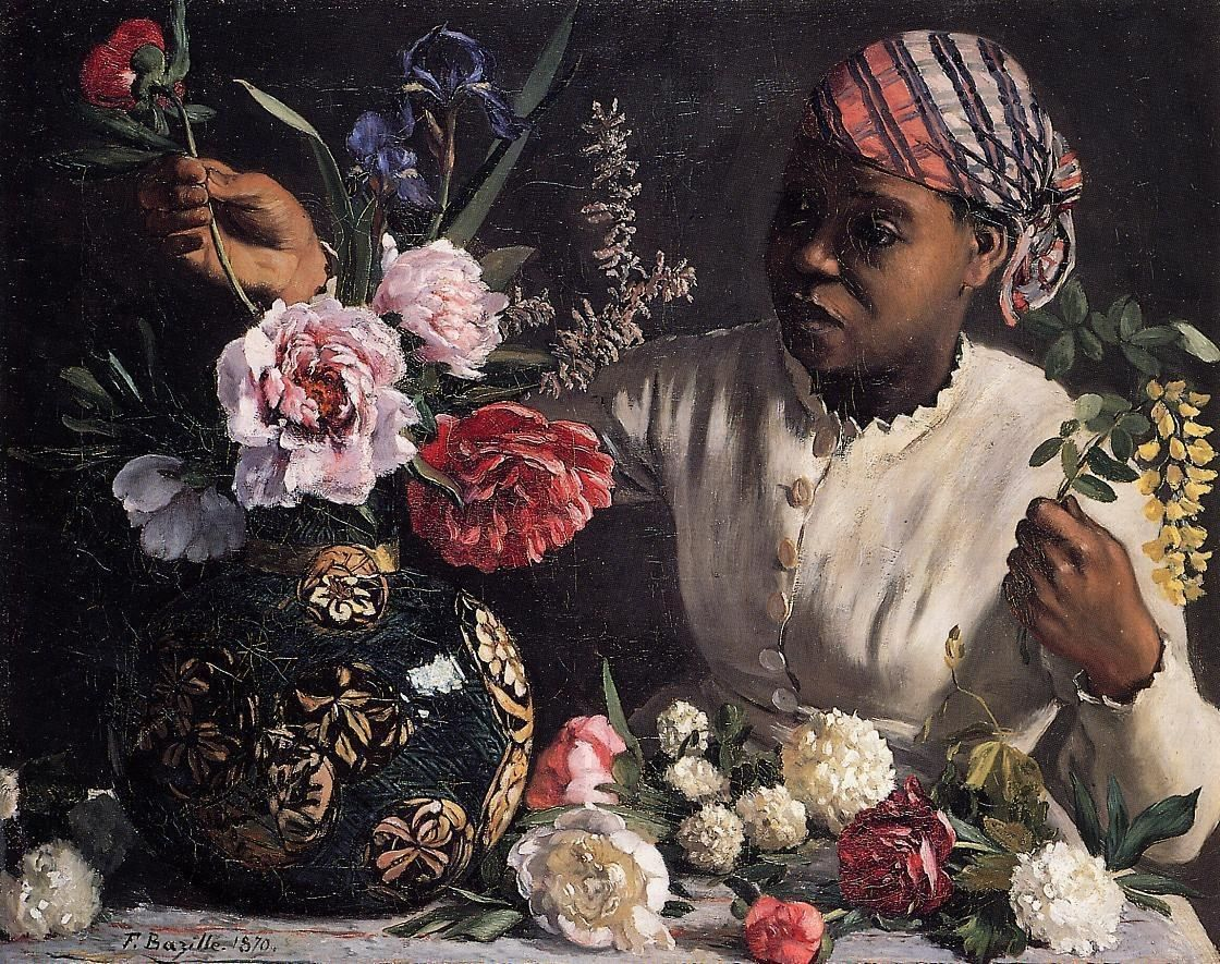 Frederic Bazille African woman with Peonies