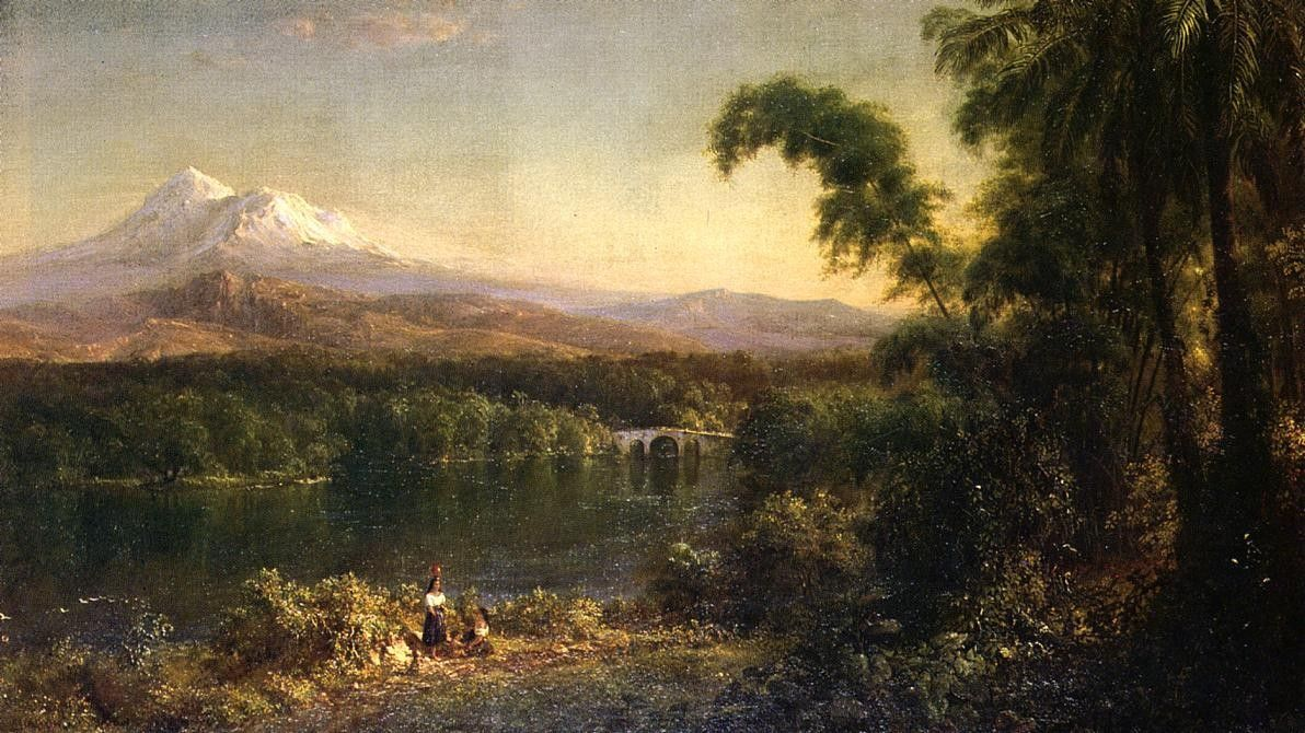 Frederic Edwin Church Figures in an Ecuadorian Landscape