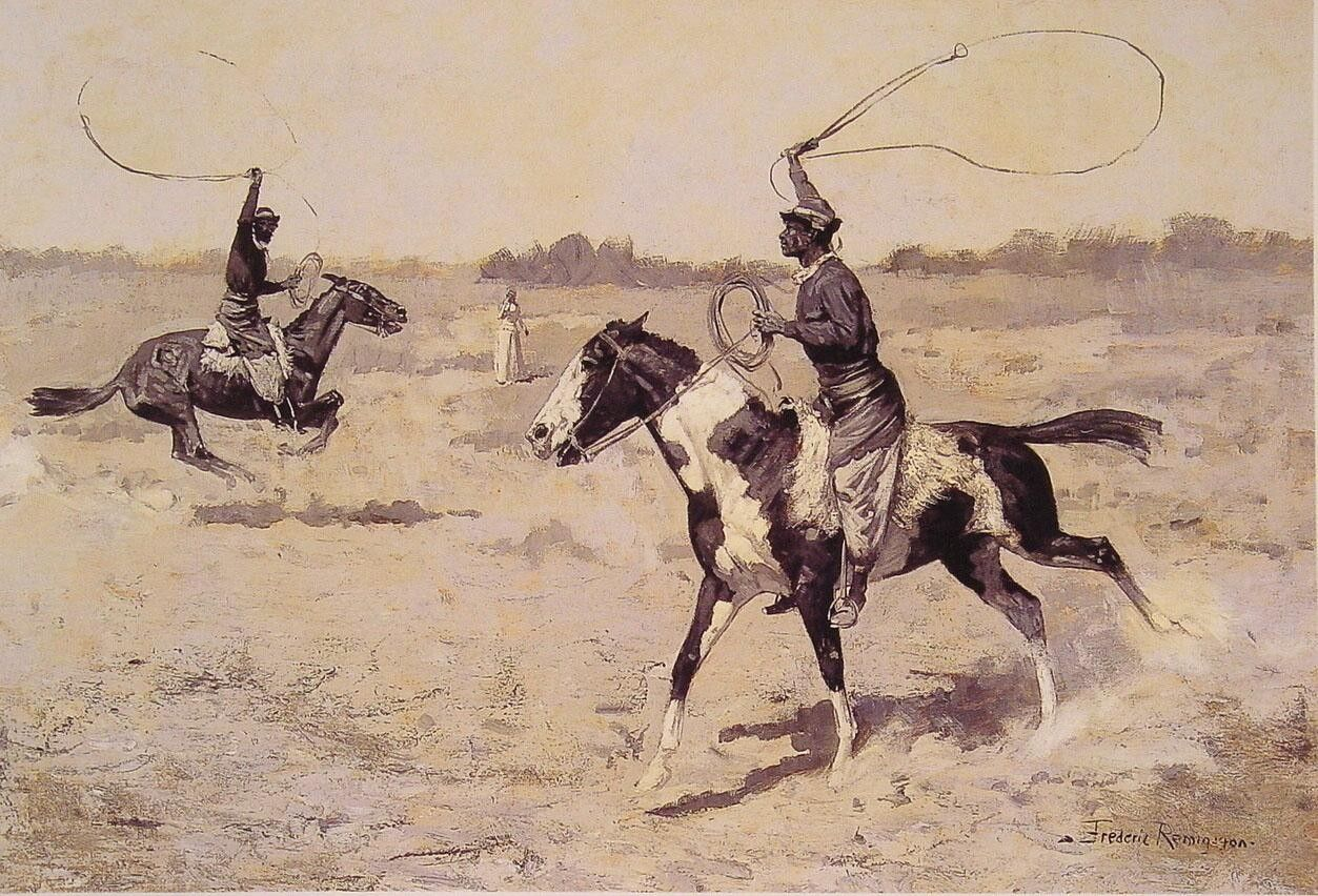Frederic Remington It was to be a lasso duel to the death