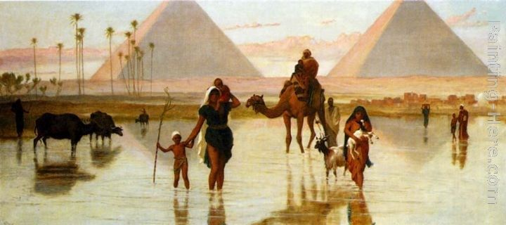 Frederick Goodall Arabs Crossing A Flooded Field By The Pyramids