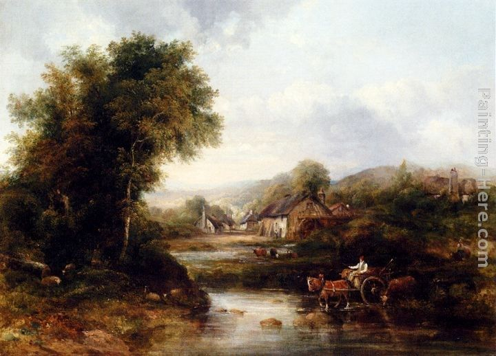 Frederick Waters Watts An Extensive River Landscape With A Drover In A Cart With His Cattle