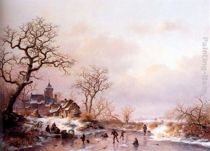 Frederik Marianus Kruseman Winter townsfolk skating on a frozen waterway near a fortified mansion at dusk