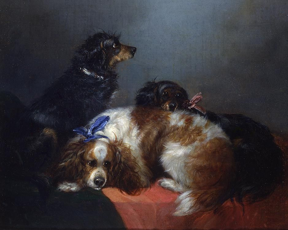 George Armfield Two King Charles Spaniels and a Terrier