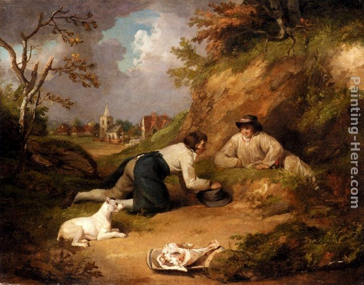 George Morland Two Men Hunting Rabbits With Their Dog, A Village Beyond