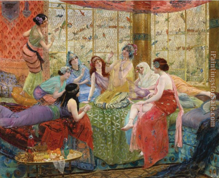 Georges Antoine Rochegrosse harem girls in an aviary