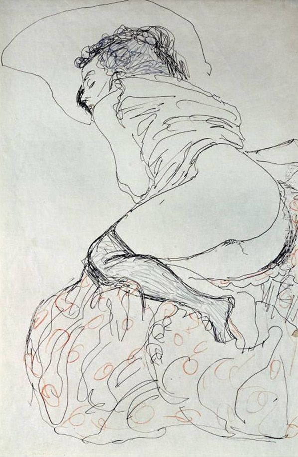 Gustav Klimt Female Nude, Turned to the Left