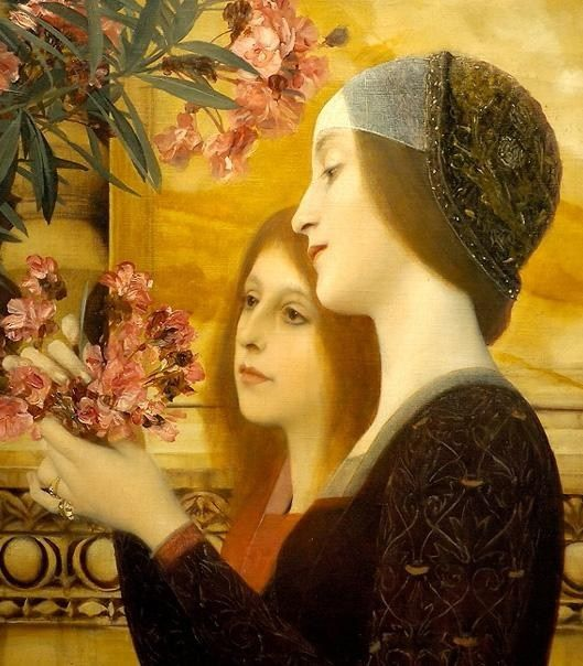 Gustav Klimt two girls with an oleander detail