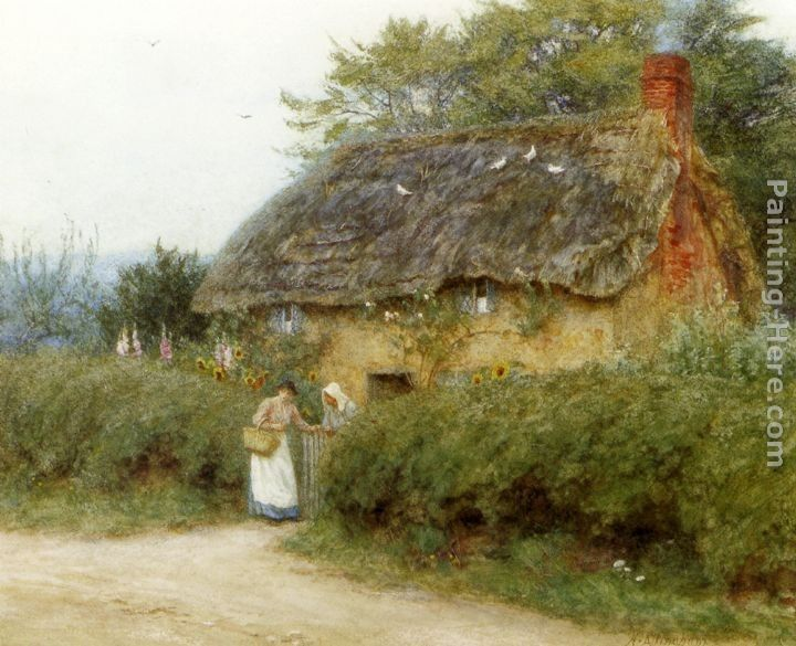 Helen Mary Elizabeth Allingham A Cottage With Sunflowers At Peaslake