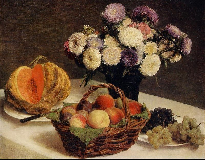 Henri Fantin-Latour Flowers and Fruit a Melon