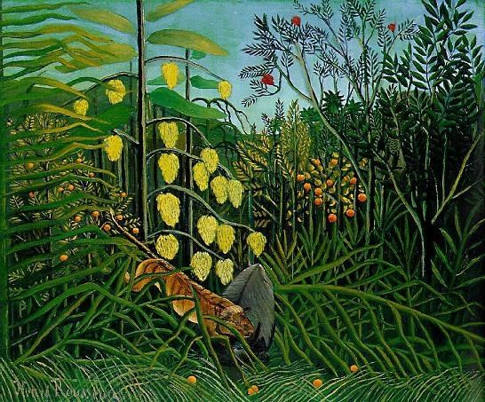 Henri Rousseau The Jungle - Tiger Attacking a Buffalo
