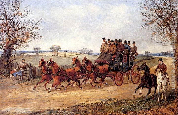 Henry Alken A Coach and Four on an Autumn Road