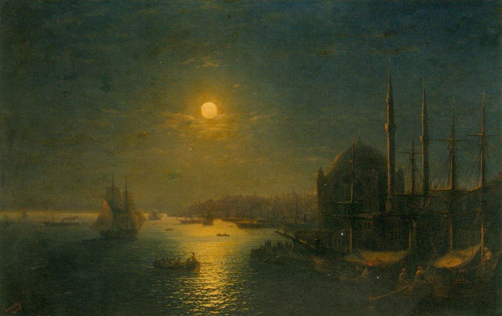 Ivan Constantinovich Aivazovsky A Moonlit View of the Bosphorus