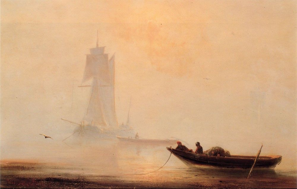 Ivan Constantinovich Aivazovsky Fishing Boats In A Harbor